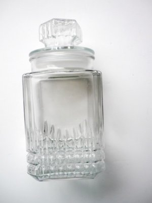 Lg Square Canister Apothecary Jar Candy Cookies Starburst Lid