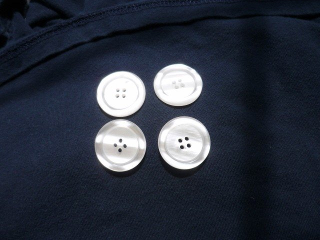 Set of Four Pearlized Buttons - Vintage - 1 1/8 Wide - 4 Hole