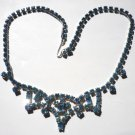 Vintage Blue Rhinestone Necklace Choker Princess Tiara Design Bridesmaid Flower Girl