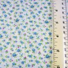 Petite Blue Flowers on White Material Fabric 32 x 45 inches