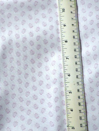 Lilac/Mauve Flowers on white Satiny Fabric Material 44 x 39 inches Remnant