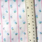 Petite Blue Flowers on White with Pink Stripe Fabric Material 45 x 48 inches Remnant