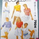 McCalls Pattern 7924 Misses Set of Summer Tops Size 6-8