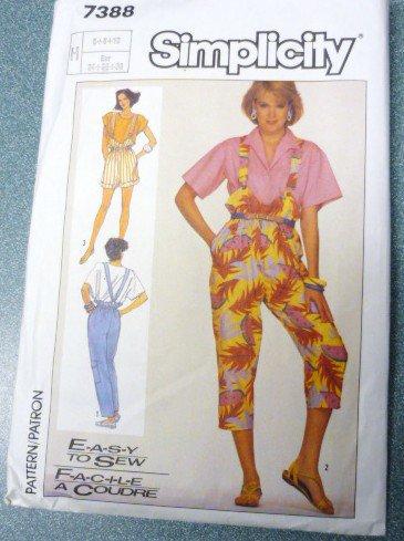 Simplicity Pattern 7388 Miss 6 8 10 Suspender Pants Shorts Capris