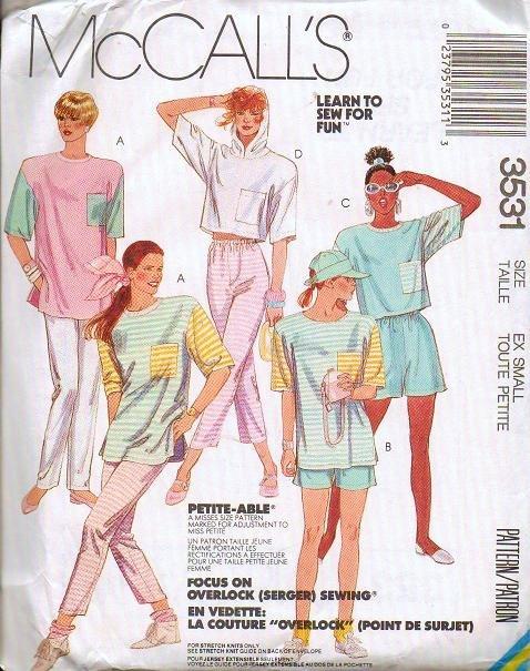 McCalls Pattern 3531 Uncut Misses Size XS 6-8 Top Pants Shorts