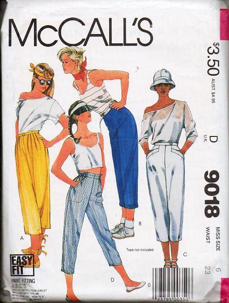 McCalls Pattern 9018 Misses Sz 6 Cropped Leg Pants