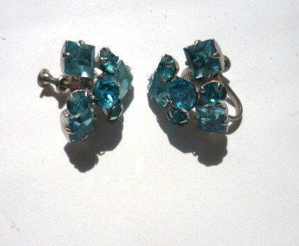 Vintage Blue Topaz Rhinestone Screw Back Earrings SilverTone
