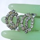 Vintage Clear Rhinestone and Silver Tone Clip On Earrings