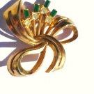 Elegant Retro Emerald and Diamond Rhinestone Pendant