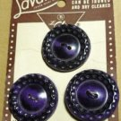 Le Chic Dark Purple Set of 3 Buttons on Card - Vintage -