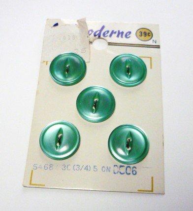 5 Vintage Aqua La Moderne Buttons on Card - Schner-Block