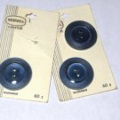 Scovill Dritz 1 1/8 Inch Lot of 3 on Card Buttons Navy - New Vintage - Holland