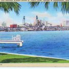 Jacksonville FL Postcard Highway & Railroad Bridges St Johns River Linen 1940s