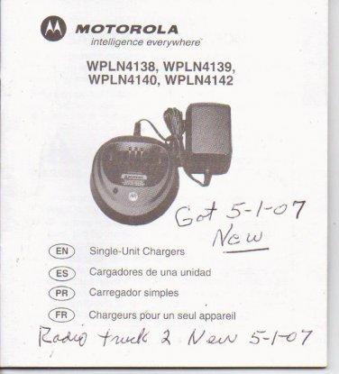 Motorola Single Unit Chargers Instructions wpln series