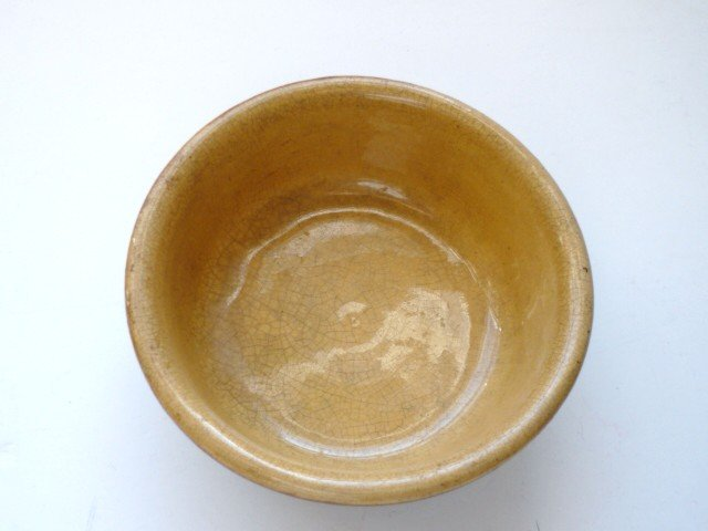 Antique Cereal Bowl Yellow Ware Brown Glaze Outer Small Banded Pottery Stoneware