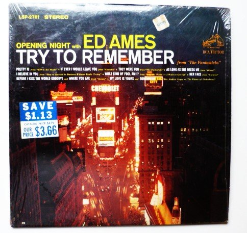 Opening Night with Ed Ames Try to Remember lp lsp2781