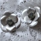 Vintage Large Silver Tone Rhinestone Clip-On Earrings