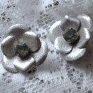 Vintage Large Silver Tone Rhinestone Clip-On Earrings