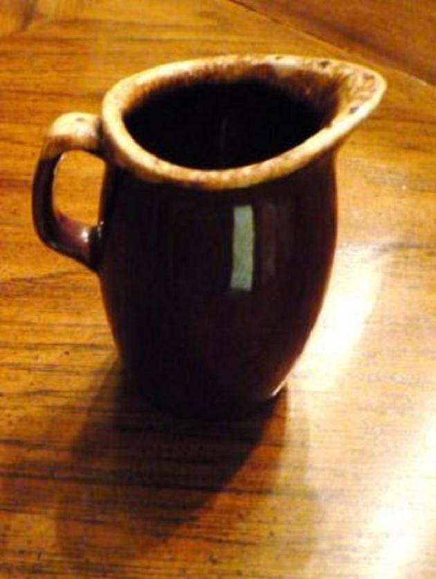 Vintage Hull Mirror Brown Drip Creamer Syrup Pitcher