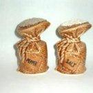 Lego Salt Pepper Shakers Burlap Sack Design - Labels Included ~ Vintage