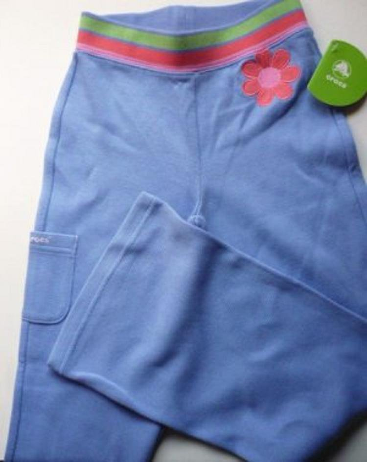 NWT Crocs Bell Bottom Stretch Pants Lapis and Flower Girls 6x