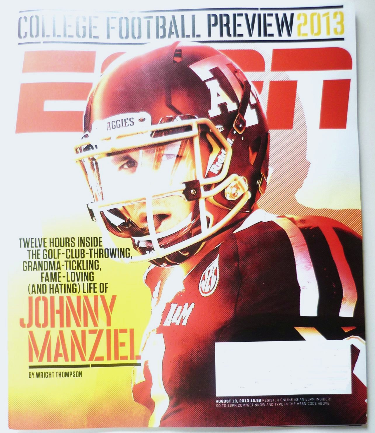 ESPN Magazine August 19 2013 UNREAD College Football Preview