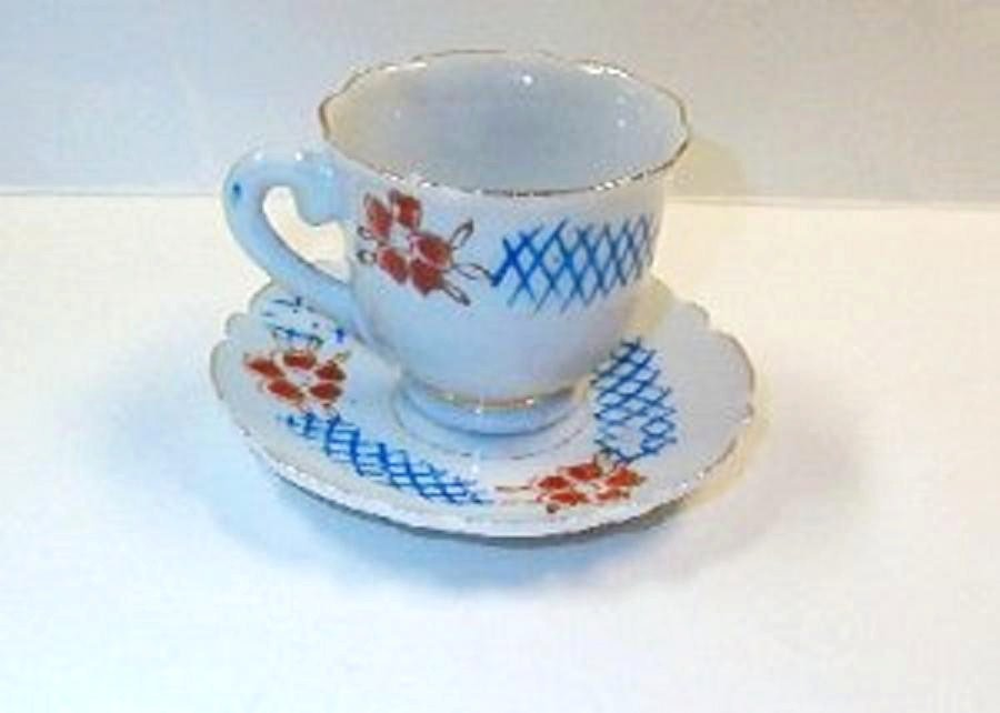 Miniature Porcelain Cup and Saucer Stamped Made in Japan Vintage