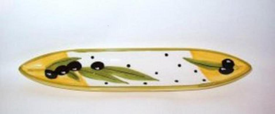 Olive Boat Single Serve Dish - Hand Painted