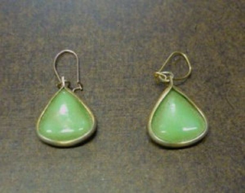 Vintage Poured Light Green Glass or Bakelite Earrings