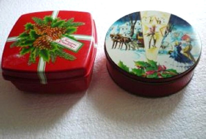 2 Holiday Cookie Containers Tin and Plastic - Holds Anything Holiday