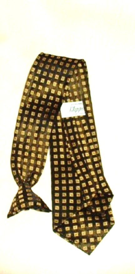 Superba Clipper Clip On Tie Vintage and Exc Cond Gold and Black