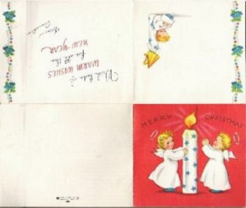 Christmas Card Angels Surrounding Candle Mckenzie Greetings Vintage