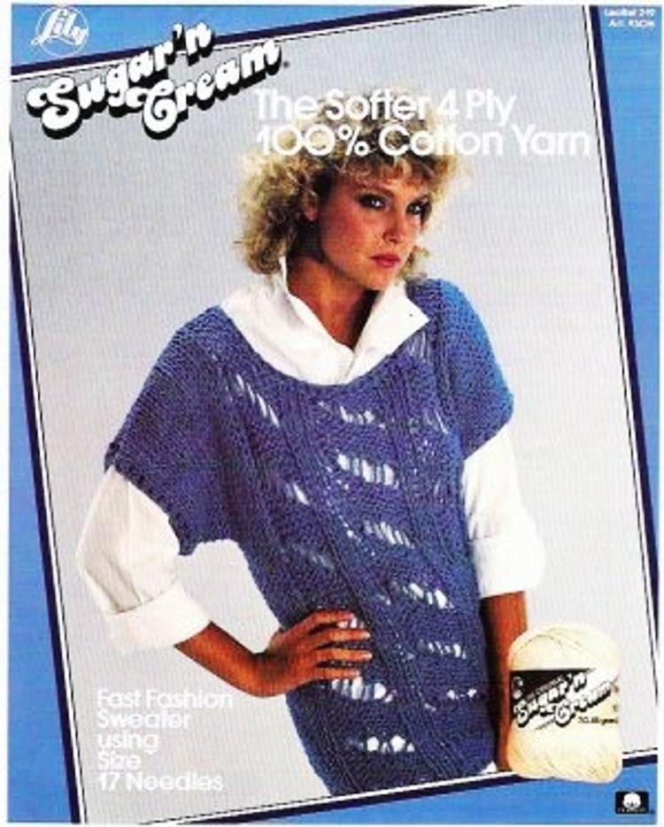 Sugar n Cream Ladies Big Sweater Short Sleeve Sz Sm Med Lg Pattern by Lily Leaflet 219