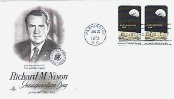 Richard Nixon Inauguration Day fdc Jan 1973 - Two Apollo 8 Stamps