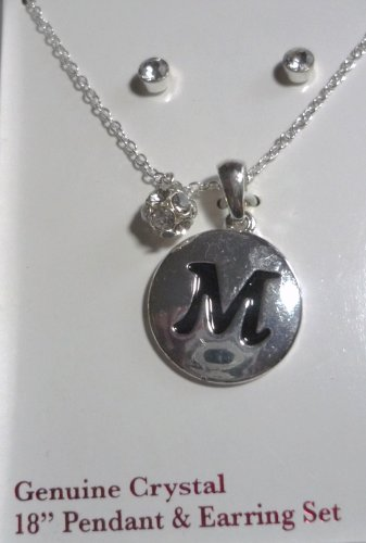 Genuine Crystal 18 inch Necklace Initial M Pendant and Earring Set