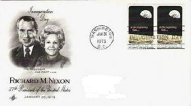 Richard / Pat Nixon Inauguration Day Jan 1973 fdc Two Apollo 8 Stamps