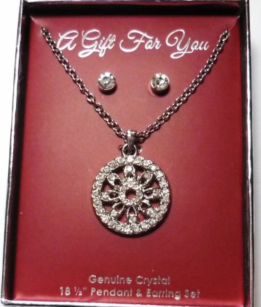 New: Genuine Crystal 18.5 inch Necklace Circle Pendant and Earring Set