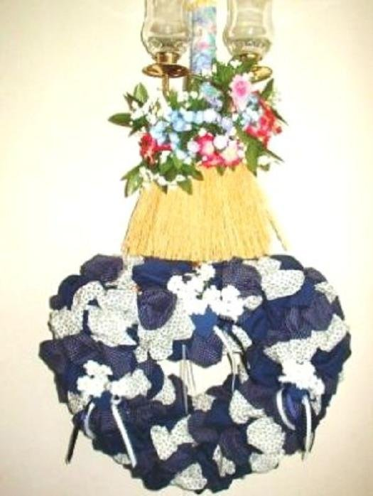 4 Piece Door or Wall Decor Large Heart Including 3 Floral Whisk Brooms