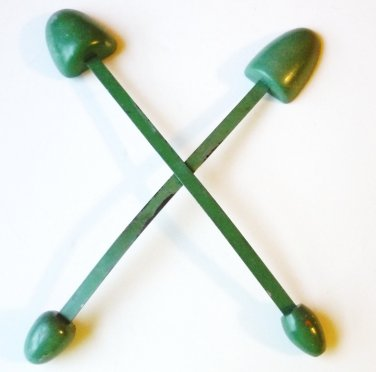 Two Vintage Wood Shoe Forms Womens Shoe Shapers Stretchers - Green