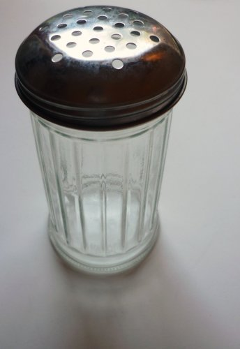 Halco Cheese or Spice Shaker Glass with Metal Cap Marked USA