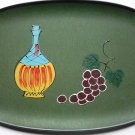 Lacquer Ware 1950s Tray Marked Japan - Wine Bottle / Grapes - Color Green