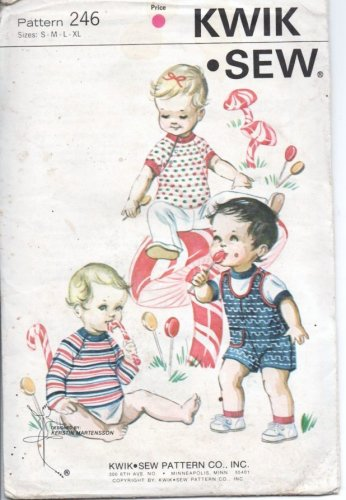 Vintage Kwik Sew Pattern 246 Infants Playsuit and T Shirts S, M, L, XL Sealed