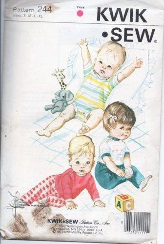 Vintage Kwik Sew Pattern 244 Infant Rompers Onsies Baby Pants TShirt New Sealed