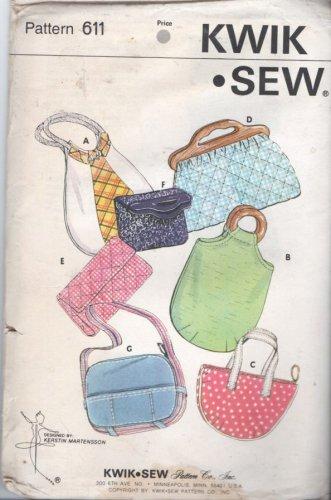 Kwik Sew Pattern 611 Vintage Purses and Bags Unopened Uncut