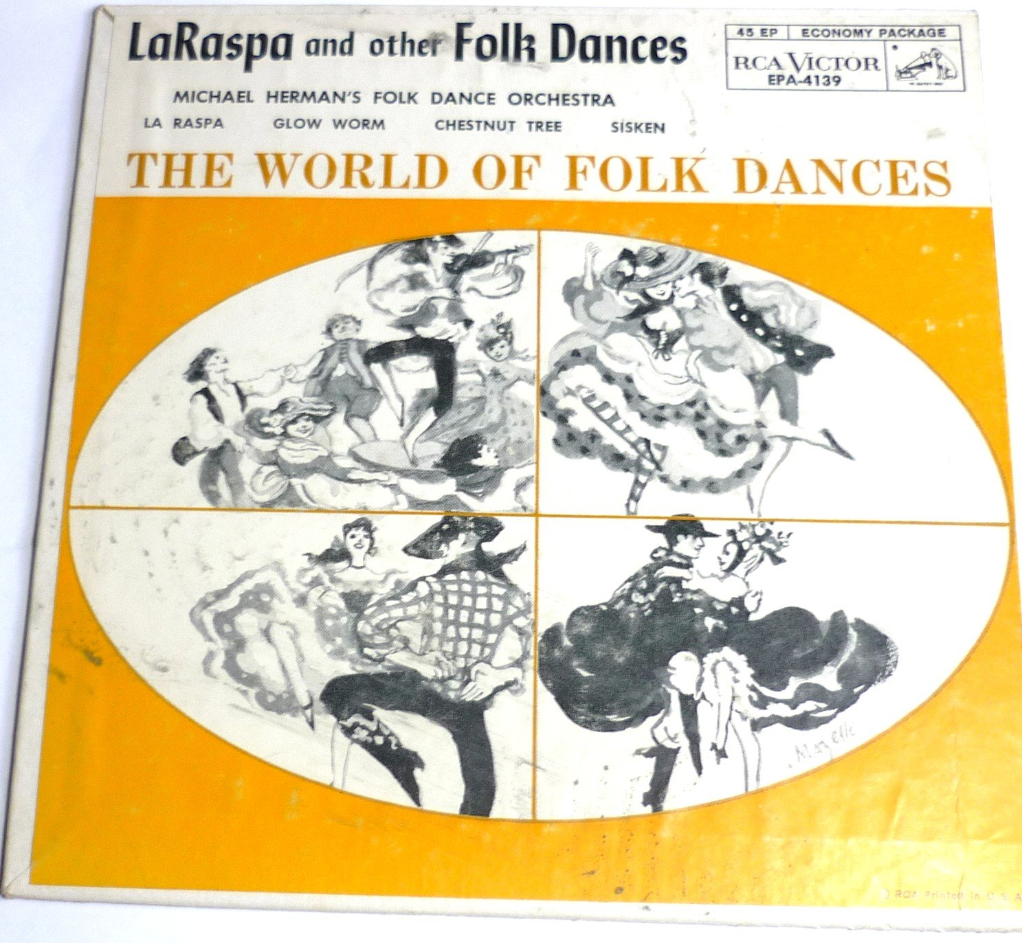 LaRaspa and other Folk Dances - 45 EP Record - Michael Herman
