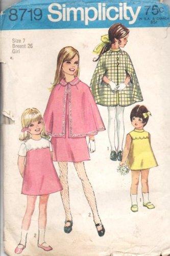Vintage Simplicity Pattern 8719 - Children Girls Cape and Dress Sz 7