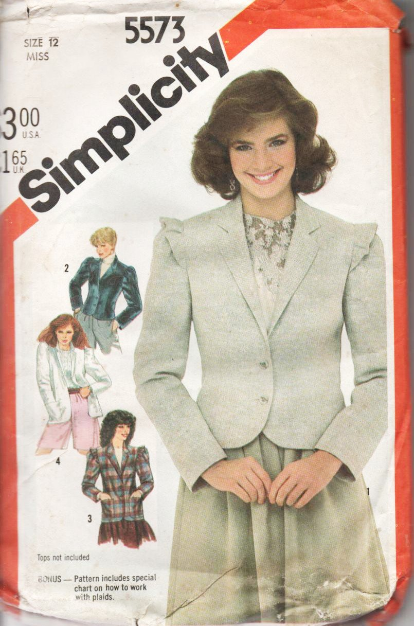 Simplicity Pattern 5573 - Blazers and Jackets in 2 Lengths Size 12