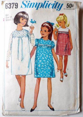 Simplicity Girls Pattern 6379 Yoke Dress w Puff or Long Sleeves Sz 10