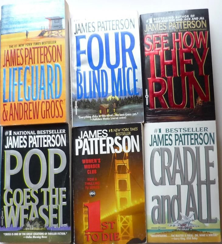 Lot of 6 James Patterson Mystery Novels Pop, Cradle, Lifeguard, mice, 1st, Run