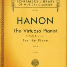 Schirmers Vol 1071 Hanon The Virtuoso Pianist Piano Book 1 1939